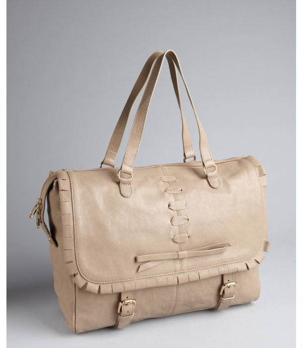 RED Valentino beige leather laced detail flap messenger style tote