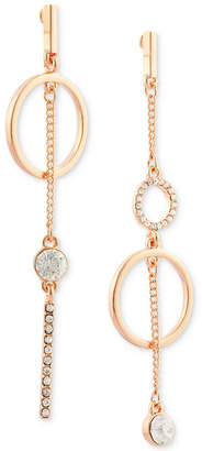 GUESS Rose Gold-Tone Crystal Pave Mismatch Drop Earrings