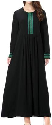 Gocgt Women Muslim Kaftan Abaya Crew Neck Maxi Dress 2XL