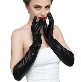D.King Women Genuine Lambskin Leather Gloves Touchscreen Texting Opera Long Evening Dress Driving Gloves 50CM/M