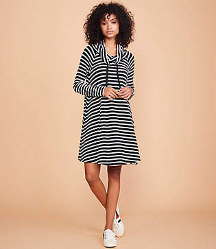 Lou & Grey Striped Signaturesoft Drawstring Cowl Dress