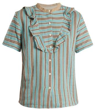 Ace & Jig - Fiona Ruffle Trimmed Cotton Gauze Blouse - Womens - Blue Stripe