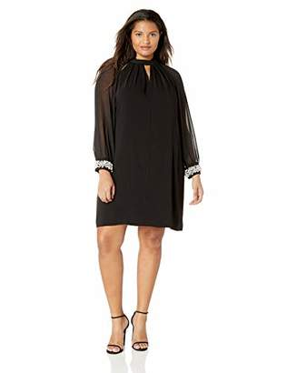 SL Fashions Women's Plus-Size Long Sleeve Pearl Trim Chiffon Sheath Dress