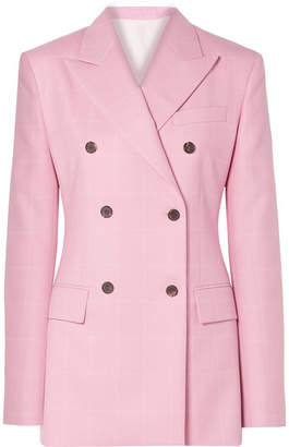 Calvin Klein Oversized Double-breasted Checked Wool Blazer - Baby pink