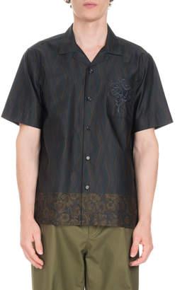 Dries Van Noten Carlton Embroidered-Pocket Short-Sleeve Shirt