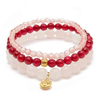 Satya Jewelry Women's Rose Quartz Fuchsia Agate Cherry Quartz Gold Ganesha Lotus Stretch Bracelet Set