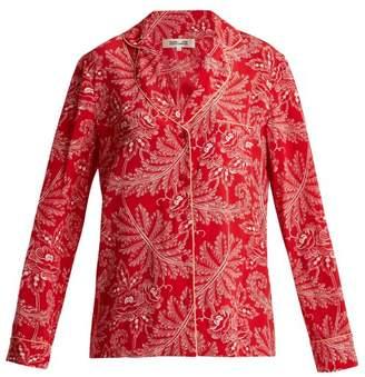 Diane von Furstenberg Floral Print Silk Crepe De Chine Pyjama Shirt - Womens - Red Multi