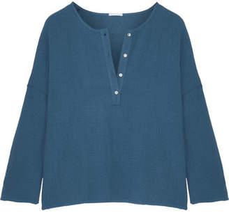 Eberjey Silvana Cotton-gauze Pajama Top - Petrol