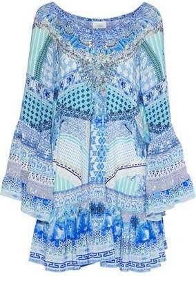 Camilla Day Dreamer Off-the-shoulder Embellished Silk Crepe De Chine Mini Dress