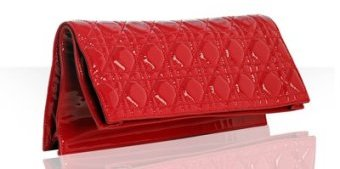 Christian Dior red quilted patent lambskin clutch