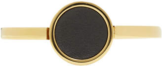 Jil Sander Gold and Black Leather Circle Bracelet