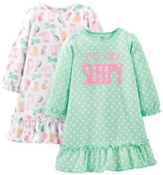 Carter's Simple Joys by Girls' Little Kid 2-Pack Fleece Nightgowns