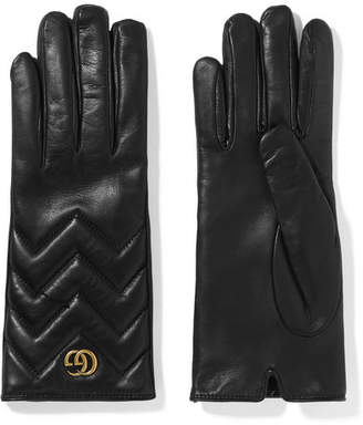 Gucci Marmont Quilted Leather Gloves - Black
