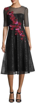 Rickie Freeman For Teri Jon Sheer 3D Floral Sequin A-Line Cocktail Dress