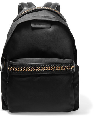 Stella McCartney - The Falabella Faux Leather-trimmed Shell Backpack - Black $965 thestylecure.com