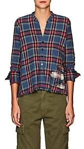 Greg Lauren Women's Christian Plaid Cotton Studio Shirt - Blue
