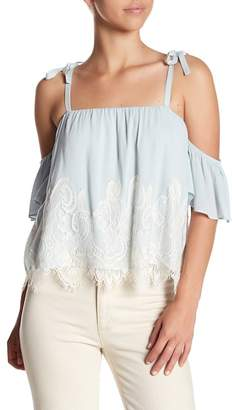 Show Me Your Mumu Piper Lace Trim Cold Shoulder Top