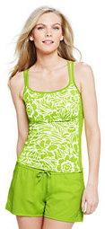 classic Women's DDD Cup AquaSport Scoop Tankini Top-Bright Chartreuse Stencil