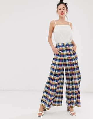 d53c70cfc336a Checked Wide Leg Trousers Women - ShopStyle UK