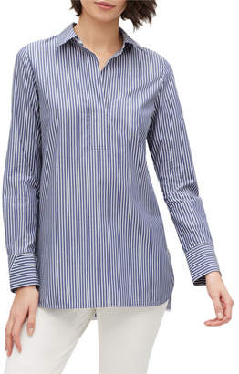 Lafayette 148 New York Plus Size Venida Striped Long-Sleeve Cotton Blouse