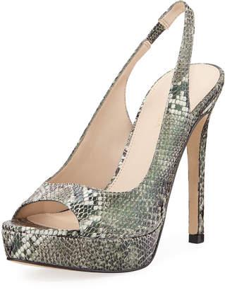 Pelle Moda Oana Snake-Print Platform Slingback Sandals
