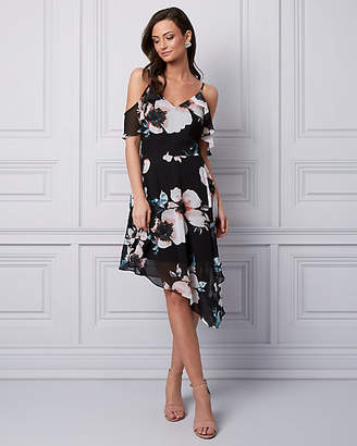 Le Château Floral Print Chiffon Cold Shoulder Dress