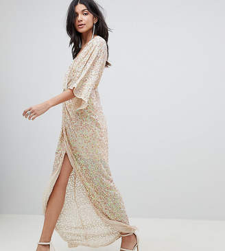 Asos Tall DESIGN Tall sequin kimono maxi dress
