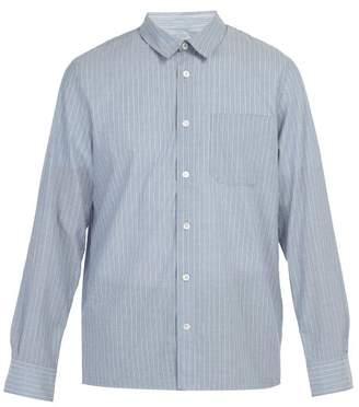 A.P.C. Atelier Striped Cotton Shirt - Mens - Light Blue