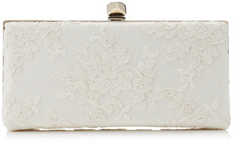 Jimmy Choo CELESTE/S Ivory Floral Lace Clutch Bag with Cube Clasp