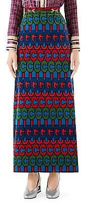 Gucci Women's Velvet GG Maxi Skirt