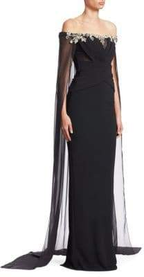 Pamella Roland Stretch Crepe Off-The-Shoulder Cape Gown