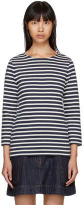 A.P.C. Navy and Off-White Long Sleeve Nikki Sailor T-Shirt