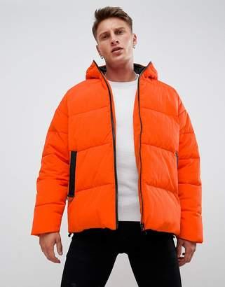 Asos Design DESIGN puffer with hood in orange
