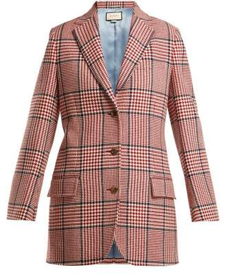 Gucci Houndstooth Wool Blend Blazer - Womens - Red Multi