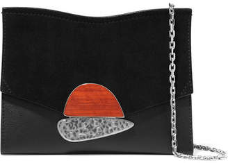 Proenza Schouler Curl Small Embellished Textured-leather And Suede Shoulder Bag - Black