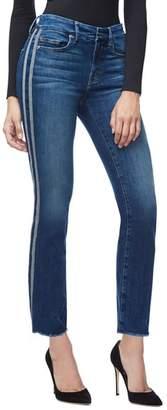 Good American Good Straight Athletic Stripe High Waist Straight Leg Jeans