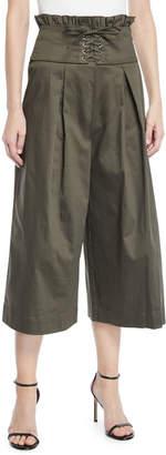 ENGLISH FACTORY Corset-Waist Pleated Wide-Leg Pants