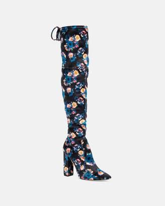 Nicole Miller Rozilyn Velvet Poppy Print Over The Knee Boot