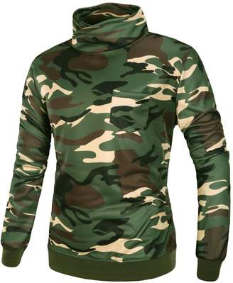 Best Nest Wellness Bestgift Men's Long Sleeve Tops Camouflage Print Turtle Neck Pullover with Pocket XL