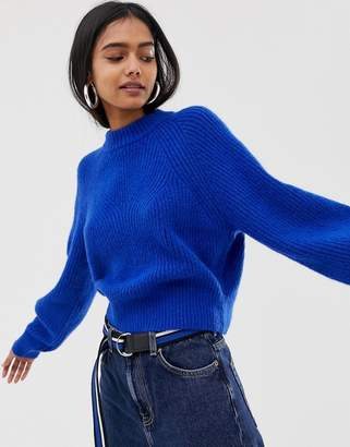 Weekday knitted sweater in cobalt
