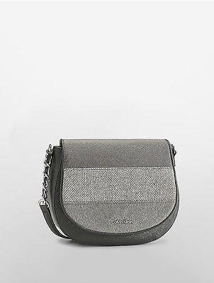 Calvin KleinCalvin Klein Womens Striped Saddle Bag Black/Grey Stripe