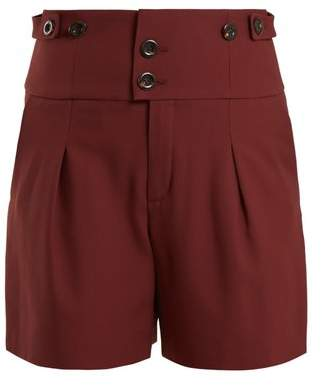Chloé High Waist Double Button Shorts - Womens - Burgundy