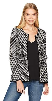 Nine West Women's Zip Front Printed Knit Sweater