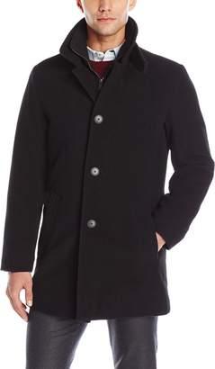 Calvin Klein Men's Coleman 34 Overcoat with Knit Bib
