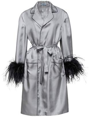 Prada Silk Coat With Feathers
