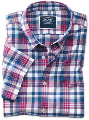Charles Tyrwhitt Classic Fit Poplin Short Sleeve Pink and Navy Cotton Casual Shirt Single Cuff Size Medium
