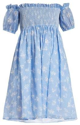 Miu Miu Off The Shoulder Floral Print Gauze Mini Dress - Womens - Blue Print