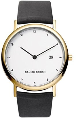 Danish Design (ダニッシュ デザイン) - デンマークデザインメンズ39 mmブラックレザーバンドチタンケースクォーツホワイトダイヤルアナログ腕時計iq10q881
