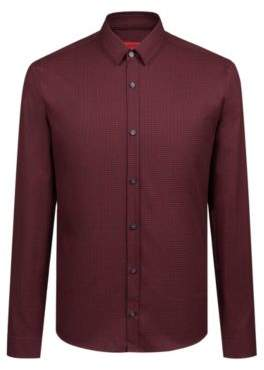 HUGO Boss Extra-slim-fit shirt in houndstooth cotton tweed M Red
