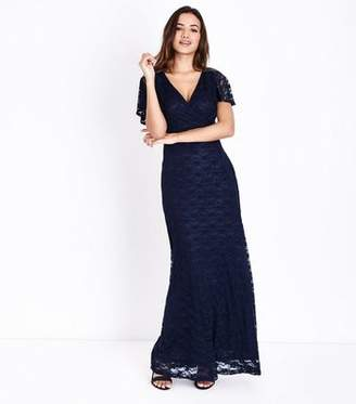 Yumi Navy Lace Wrap Front Maxi Dress